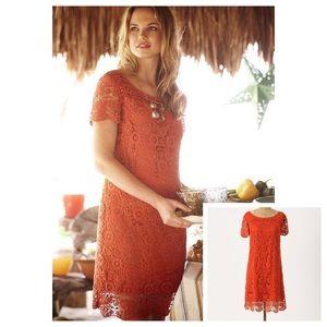 NWOT Anthropologie 🍊 Orange Crochet Lace Dress 🍊